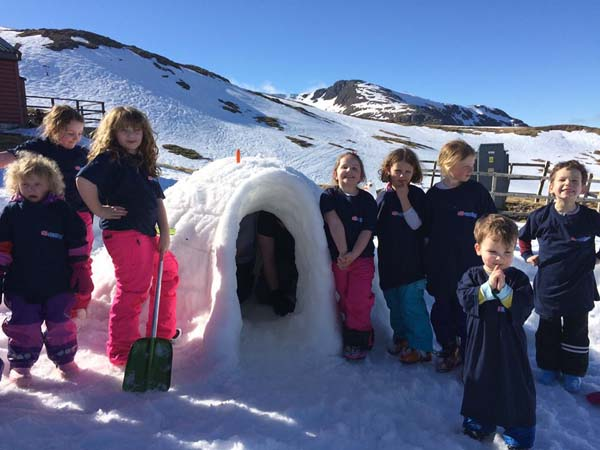 Igloo building at Snow Fest